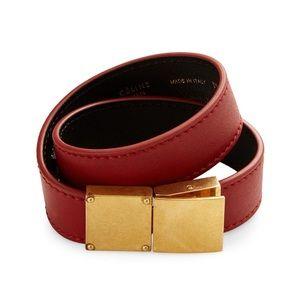 AUTH Celine Classic Double Strap Leather Bracelet